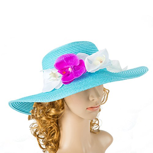 sky Blue /Turquoise Hat Wedding Hat Kentucky Derby Hat Fascinator Real Touch Flowers Cocktail Hat Summer Hat Sun Hat ()