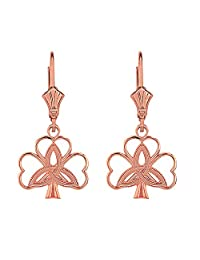 14k Rose Gold Celtic Triquetra Trinity Knot Shamrock Clover Earrings