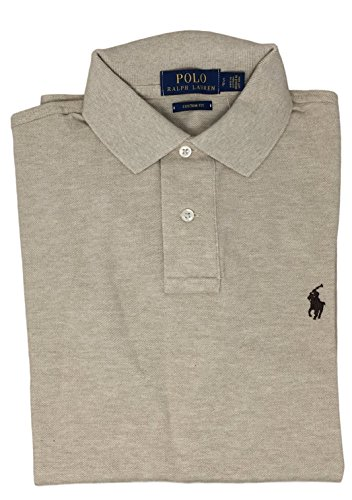 Polo Ralph Lauren Men Custom Fit Mesh Pony Logo Shirt (XXL, DuneTan)
