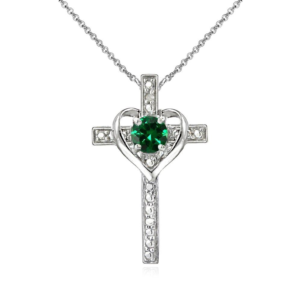 925 sterling silver simulated emerald cross heart pendant. Black Bedroom Furniture Sets. Home Design Ideas
