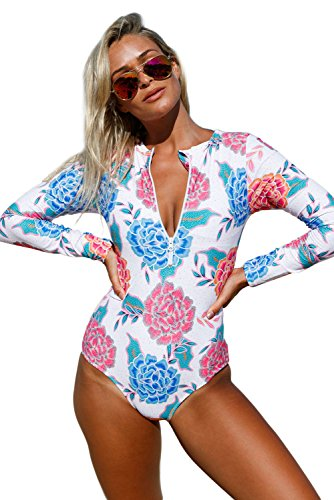 Anloli Womens Zip Front Printed Long Sleeve One Piece Swimsuit Small Size (Front Printed Zip)