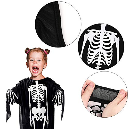 BigOtters Halloween Skeleton Costume, 2PCS Ghost Bones Horror Costume and Skeleton Gloves for Boys Girls Cosplay Child Favor Halloween Dress up Dance Party Black