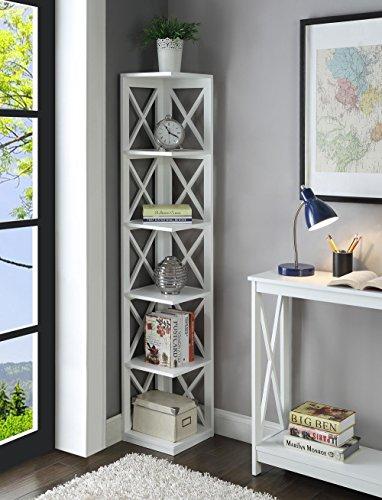 Nova Natural Corner Bookcase,5 Tier Corner Bookshelf,Wooden Storage Rack Stand, Corner Decor Unit with Five Tiers,Accent Furniture