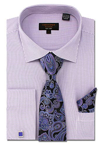Check Shirt Tie - Christopher Tanner Men's Regular Fit Dress Shirts with Tie Hanky Cufflinks Set Combo French Cuffs Checks Plaid Pattern Purple