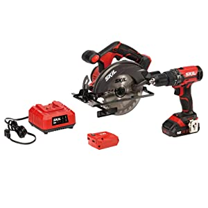 SKIL 20V 3-Tool Combo Kit: 20V Cordless Drill Driver, Circular Saw and PWRAssist 20 USB Charging Adapter, Includes 2.0Ah PWRCore 20 Lithium Battery and Charger - CB739301