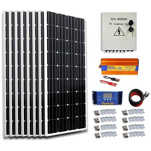 ECO-WORTHY 800 Watt Solar Panel Kit: 8pcs 100W Mono Solar Panel + 1500W 24V-110V Off Grid Inverter + Solar Combiner Box + 16.4ft Solar Cables + 60A PWM Charge Controller + Z Mounting Brackets