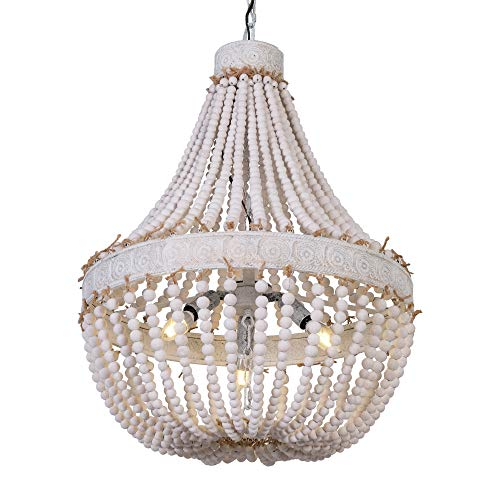 DERALAN Wood Bead Chandelier Rustic Modern Farmhouse Beaded Chandeliers 3-Lights Wooden Island Pendant Lighting Fixture Retro Ceiling Lights for Dining Room Kitchen Bedroom Foyer D21.65″