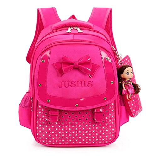 Lovely Girls Backpack School Bag with Pencil Bag and Doll, Kids Bowknot Heart Dot Print Backpack (Hot pink)