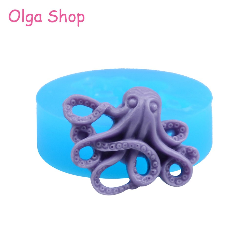 Star-Trade-Inc - 30.7mm Octopus Silicone Mold - Animal Mould Fondant, Cake Decorating Tools, Scrapbooking, Food Safe, Resin, Jewelry Mold