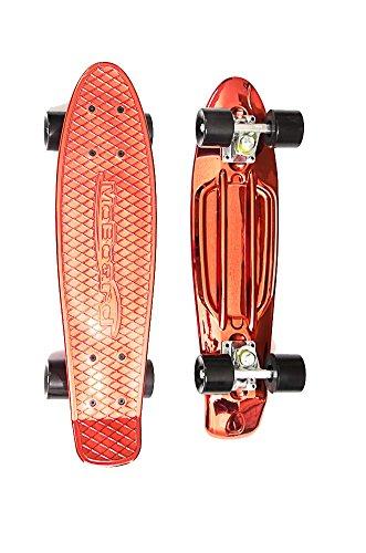 MoBoard Graphic Complete Skateboard | Pro/Beginner | Metal Bearings | 22 Inch Vintage Style with Interchangeable Wheels (Metallic - Metal Skateboard