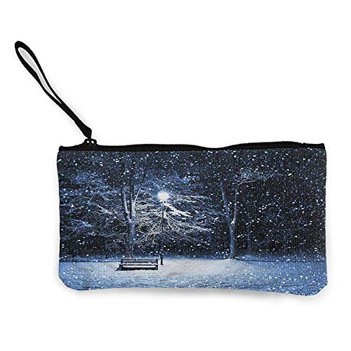 - Bank deposit bags Winter,Snowy Night Cold Bench Park,Cosmetic Makeup Bag Set W 8.5