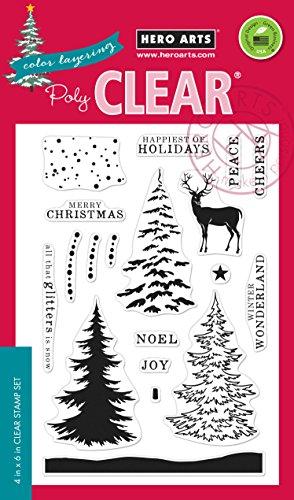 Hero Arts CL997 Color Layering Snowy Tree Card Making Kit (Christmas Kits For Making Card)