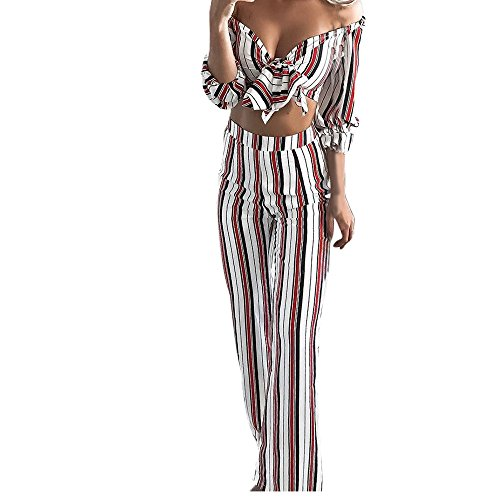 Sonmer 2018 Fashion Ladies Dress, Womens Long Sleeve Stripe Shirt Top Blouse + Long Pants Two-Piece Outfit (XL, Red) (Studio Red Stripe)