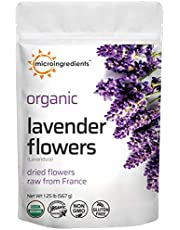 Organic Lavender Flowers, Dried, Raw from France, All Natural, Fresh Fragrance, Premium Quality for Tea, Baking, Bath, Non-GMO, No Gluten, 1.25 Pound