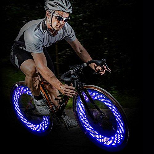 ghts, LED IP55 Waterproof Bicycle Spoke Light 7-LED 15 Changes Patterns Bicycle Rim Tire Lights for Mountain Bike/Road Bikes/BMX Bike/Hybrid Bike/Folding Bike (blue) ()