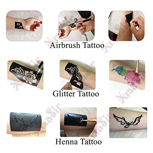 20 Sheet (446 Pieces) Airbrush Tattoo Stencils Album Art Book,Small Glitter Tattoo Template for Body Painting by xmasir (Image #8)