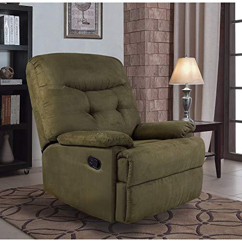 (Ocean Bridge Furniture Collection - Big Jack Microfiber Recliner Chair, Green)