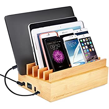 10 Port 100W Bamboo Charging Docking Station for Multiple Device, Quick Charge 3.0 & Type C Wood Charger Organizer for Electronics, iPhone Macbook iPad Samsung- Avantree 619 [24M Warranty]