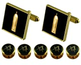 Junior Warden Gold Cufflinks Masonic 5 Shirt Dress Studs Box Set
