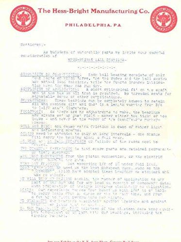 1905 Hess Bright Ball Bearing Letter Philadelphia