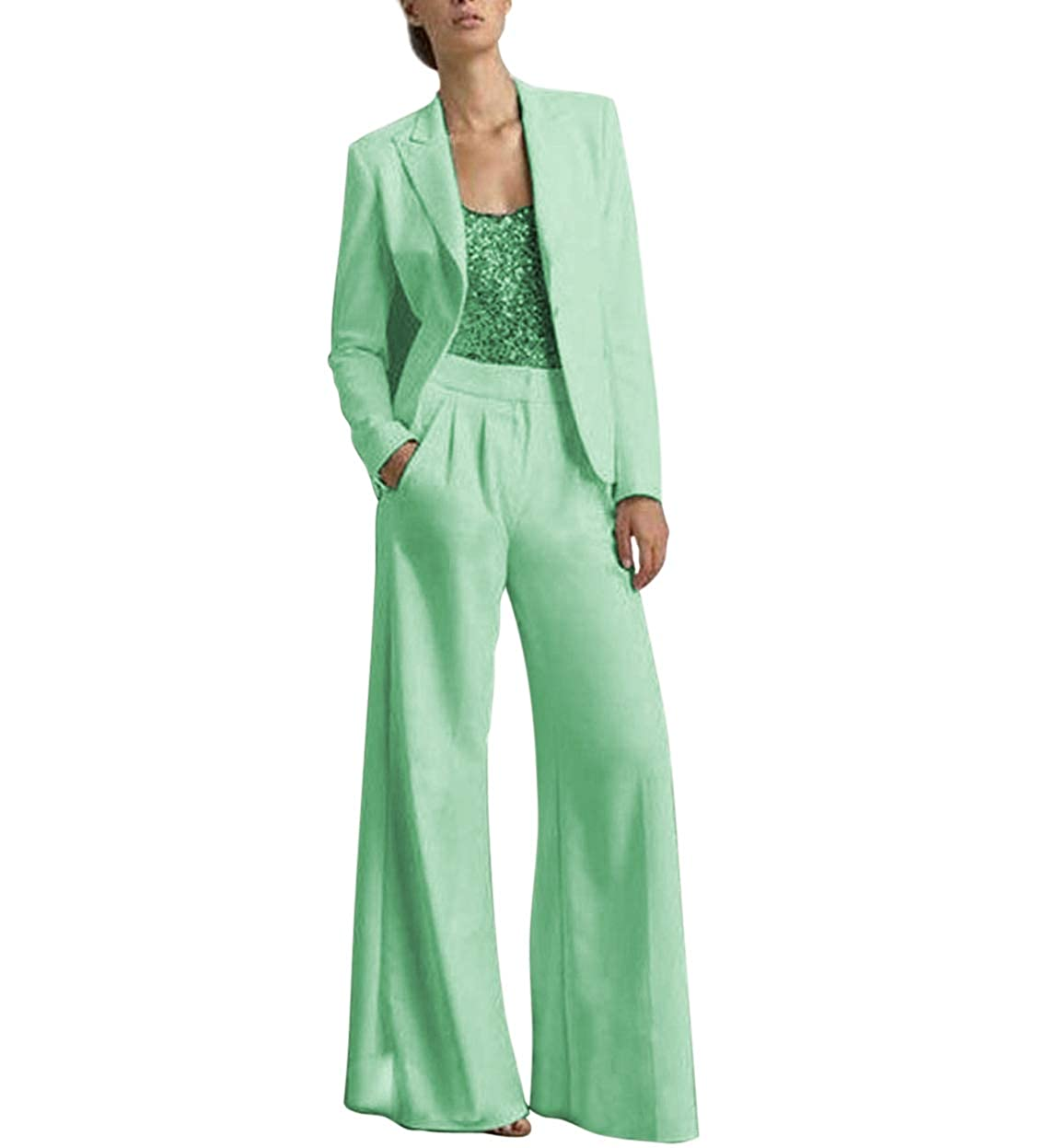 Mint TBB Women's 2 Pieces Mother of The Bride Dress Pant Suits with Polyester Jacket Office Lady