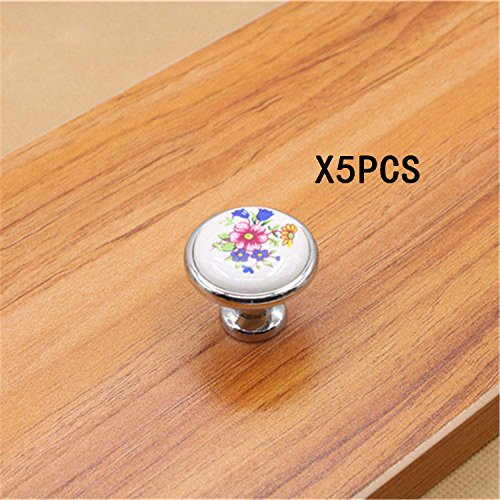 IdealDecor 5PCS 32mm Interior Round Knobs and Pulls for Cabinet / Girls Dresser / Kids Cupboard / Kitchen Drawer Handles with Hardware Attached - Ceramic Decorative Hand Painted Antique Door Knobs
