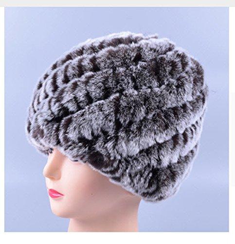 New Design Genuine Rex Fur Pom poms Snow Cap Winter Hats for Girls Skull Cap Real Fur Knitting Rabbit Skullies Beanies Women Hats (Color Coffee)
