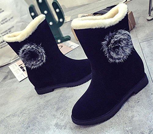 de mujer botas abrigados de de black Sra nieve plataforma mujer botas Zapatos de estudiantes botas algodón zapatos de tubo zapatos cachemir KUKI Marea más corto ngIvFwxpX