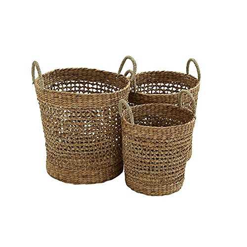 Deco 79 Seagrass Basket, 21 by 18 by 16-Inch, Set of 3