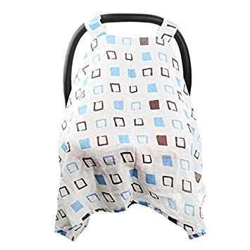 Hisprout Breathable Cotton Muslin Baby Car Seat Cover Canopy/& Nursing Cover,Hedgehog