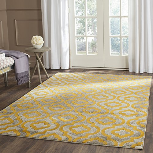 Safavieh Porcello Collection PRL7734C Light Grey and Yellow Area Rug (9' x 12') (Yellow And Grey Area Rug)