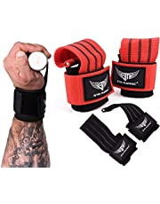 """Gym Maniac GM Lifting Straps - Wrist, Hand, Palm Assist Gear for Pull Up Bar, Weights, Barbell, Crossfit, Deadlift - Strong Adjustable Grips with Metal Wedge for Men and Women - 5.5"""" Long, 2.7"""" Wide"""