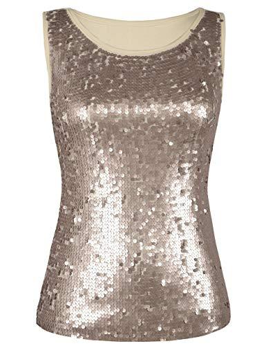(kayamiya Women's Tunic Tops Glitter Sleeveless Blouse Sequined Tank Tops Champagne M/US 4-6)