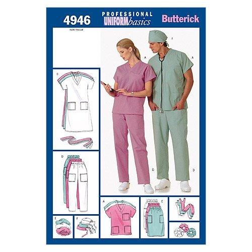 Hats Pattern Scrub - BUTTERICK PATTERNS B4946 Unisex Uniforms (Dress, Belt, Top, Skirt, Pants, Hat & Ponytail Holder, Size XSM (XS-S-M)