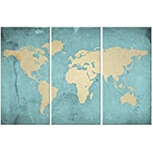 World Map Canvas Art,,Vintage Style map Poster Printed on Canvas with Frame Ready Hanging On,3 Panel Canvas Art,world Map Decal,home Wall Decoration,framed and Stretched,ready to Hang On