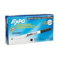 Marcadores de borrado en seco EXPO, punta fina, negro, 12 unidades