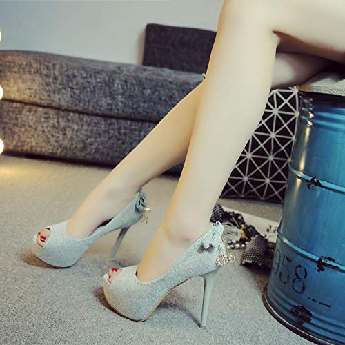 fish sexy fine shoes waterproof platform heel Black heel 12cm mouth LBTSQ fashionable shoes wild High qwvxWBC1Hn