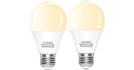 2-Pack LUXON Motion Sensor Light Bulb Dusk to Dawn Built only $10.17