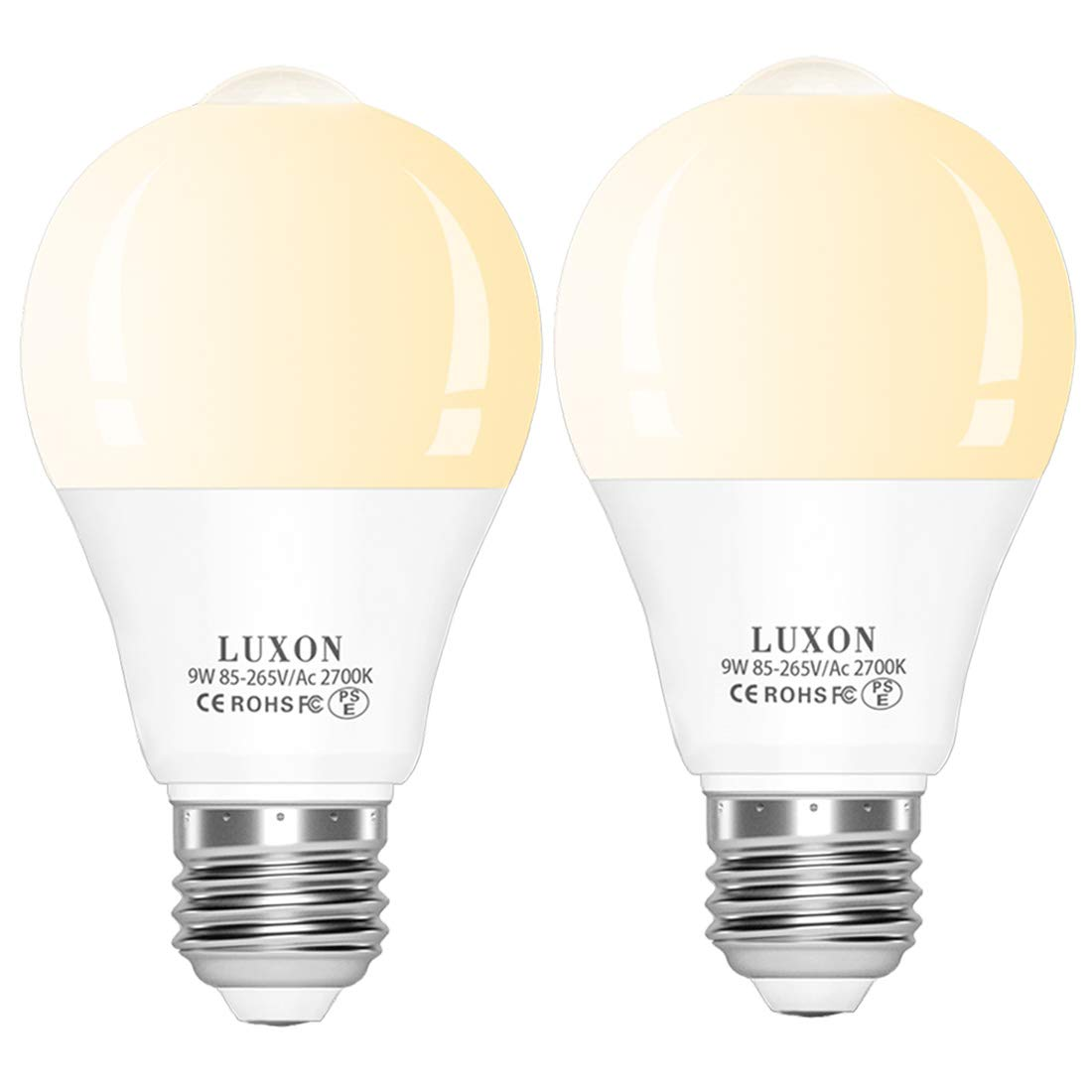 Motion Sensor Light Bulb Dusk to Dawn Built-in PIR Motion Detector Bulbs 9W 2700K Warm White Auto On/Off E26 Base for Stair Porch Garage 2-Pack by LUXON