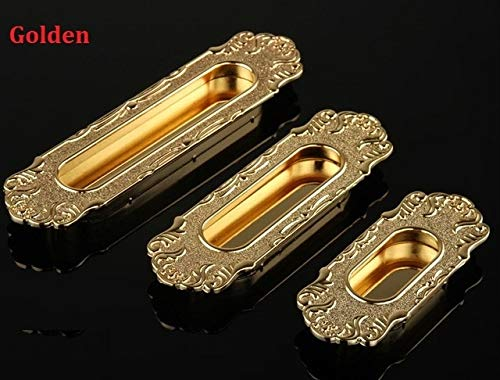 gold   CC 96mm 4PCS LOT European Classic Antique Zinc Sliding Door Closet Recessed Flush Pull  (color  gold, Size  CC 96mm)