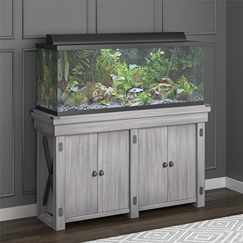 Ameriwood Home Wildwood Aquarium Stand, 55 gallon, Rustic White