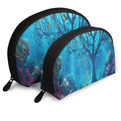 (Makeup Bag The Underwater World Personalized Handy Half Moon Beauty Bags Holder For Women)