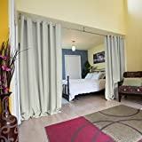 RoomDividersNow Premium Heavyweight Room Divider Curtain, 9ft Tall x 15ft Wide (Stone White)