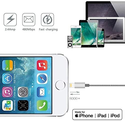 IDiSON 3PACK10ft 6ft 3ft Apple MFi Certified Lightning Cable Braided Nylon Fast Charging Cable