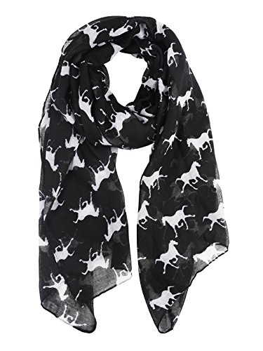 Womens Fun and Cozy Match Scarf Gorgeous Animal Printed Lightweight Scarves Wrap - Cute Little Horse