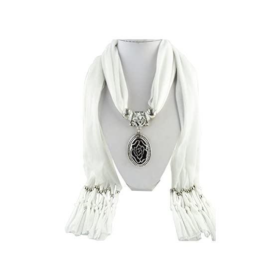White scarf shawl silver vintage iced out flower necklace pendant white scarf shawl silver vintage iced out flower necklace pendant jewelry aloadofball Images