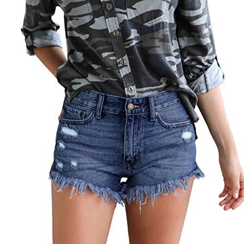 (FEDULK Women's Mid Waist Jean Shorts Retro Frayed Raw Tassel Hemline Ripped Denim Short Pants Jeans(Blue, Medium) )