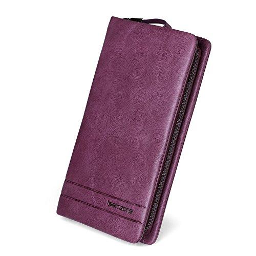 Teemzone Neu Clutch Unterarmtasche Geldbörse Handgelenktasche im Used-Look Portemonnaie für Herren Damen Echtes Leder (Braun) Klein Lila
