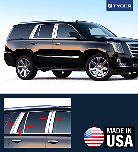 (Made in USA! Works with 2015-2018 Cadillac Escalade 10PC Stainless Steel Chrome Pillar Post Trim )