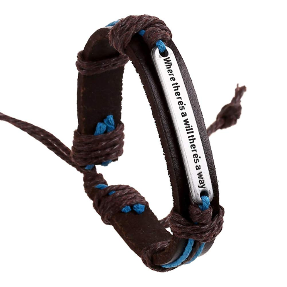 MoGist Mens Leather Bracelet Silver Alloy Where theres a will theres a way Brown Rope Woven Adjustable Bracelet Bangle